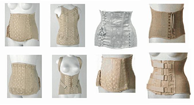 Busti e corsetti artigianali in stoffa con inserti laterali in elastico pesante e stecche interne di metallo